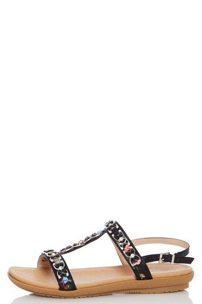 Comfort Black Multicoloured Jewel Sandals