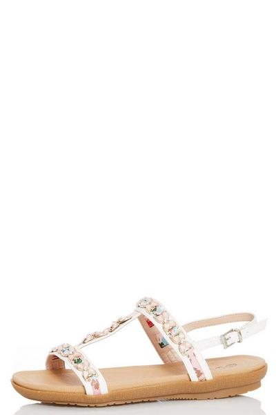 Comfort White Jewel Trim Flat Sandals