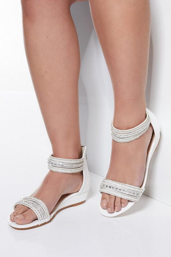 White Diamante Faux Leather Wedges