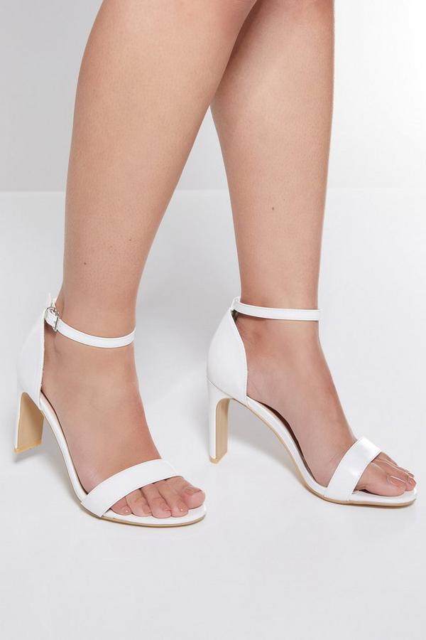 White Thin Block Heel Sandals