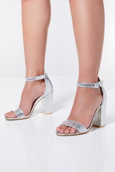 Silver Glitter Snake Print Sandals