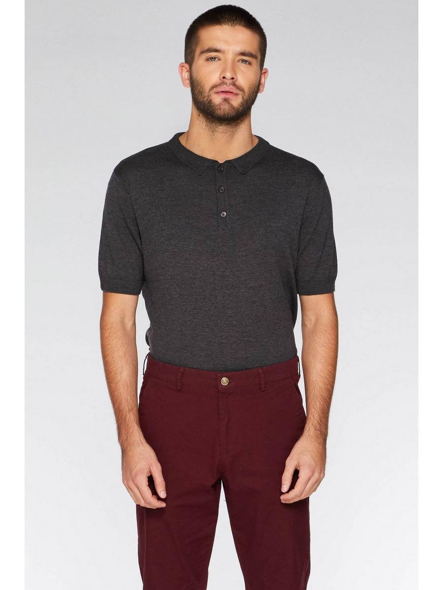 CHARCOAL KNITTED POLO SHIRT