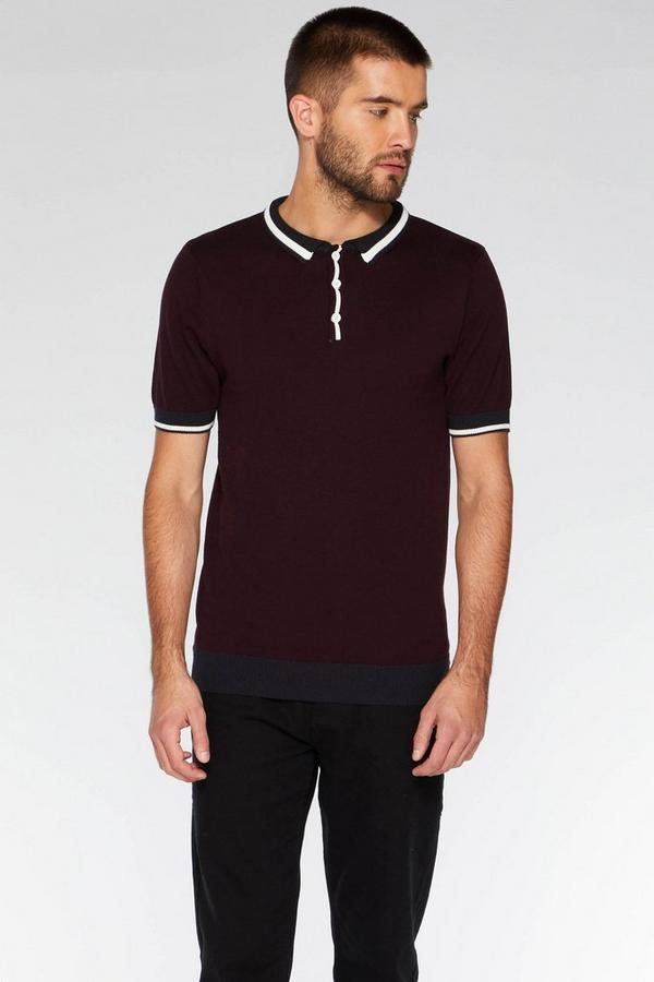 Burgundy Contrast Knit Polo Shirt
