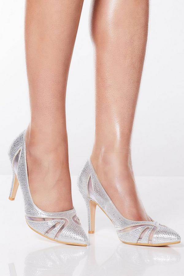 Silver Diamante Mesh Court Heels