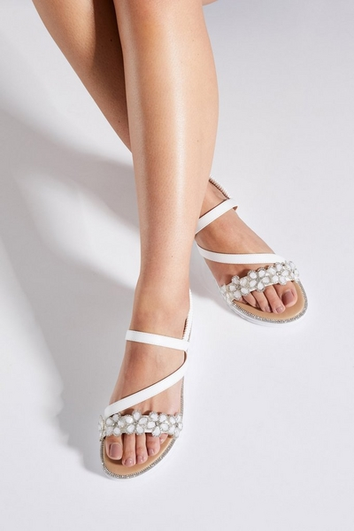 White Floral Strap Sandals
