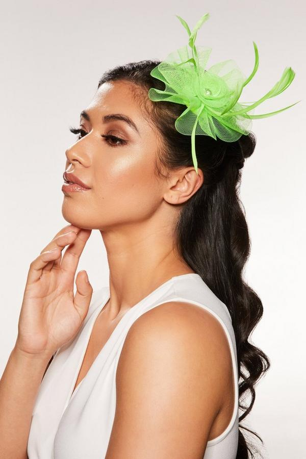 Neon Green Small Jewel Fascinator