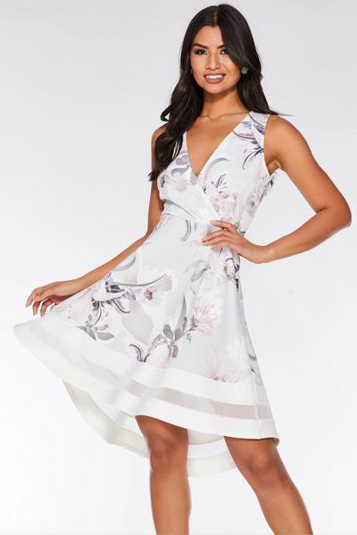 Grey And Pink Floral Wrap Dip Hem Dress
