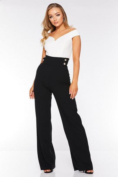 Black High Waist Button Trousers