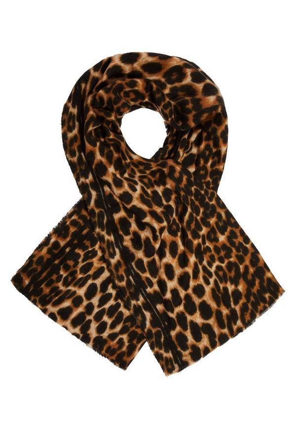 Leopard Print Stripe Knit Scarf