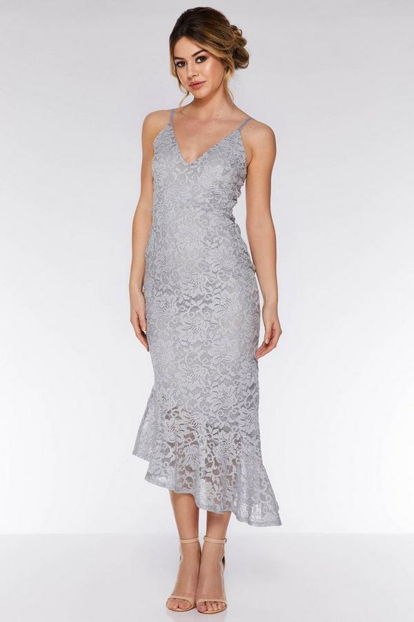 Grey Lace Glitter Asymmetric Hem Midi Dress