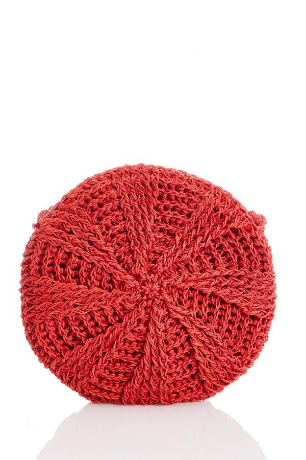 Red Crochet Circle Bag