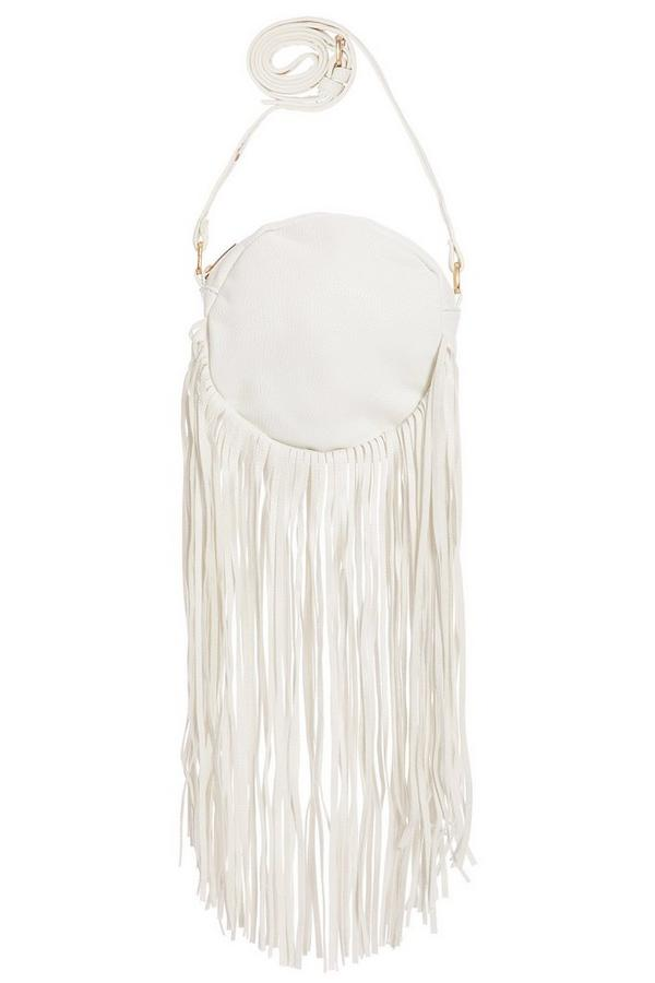 White Round Fringe Bag