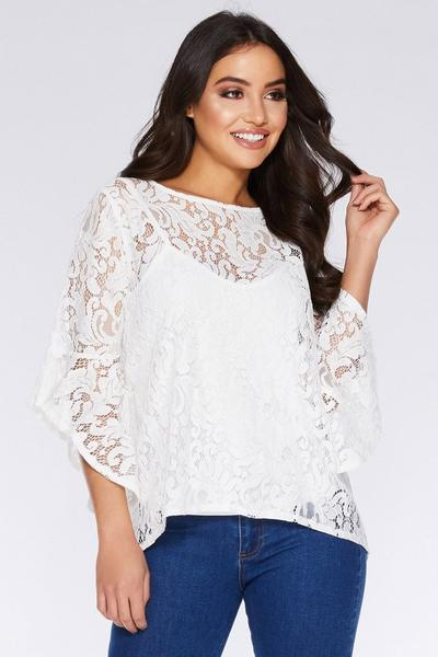 White Crochet Frill Sleeve Top