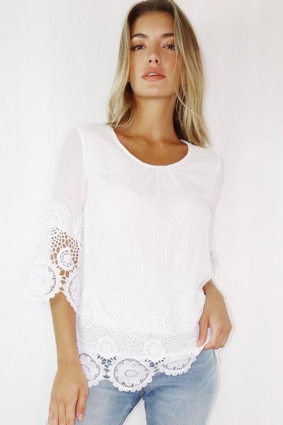 White 3/4 Sleeve Crochet Trim Top