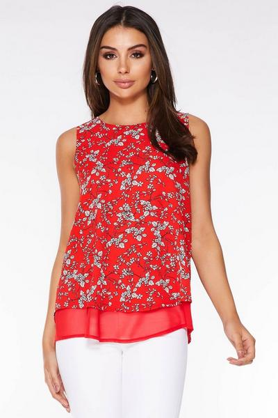 Red And White Floral Print Sleeveless Swing Top