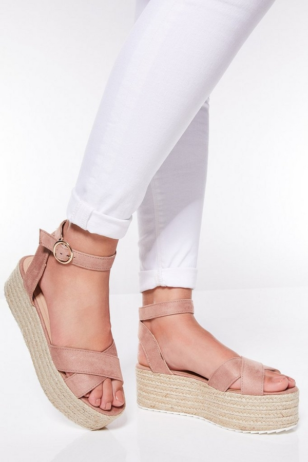 Nude Cross Over Strap Flatform Wedges