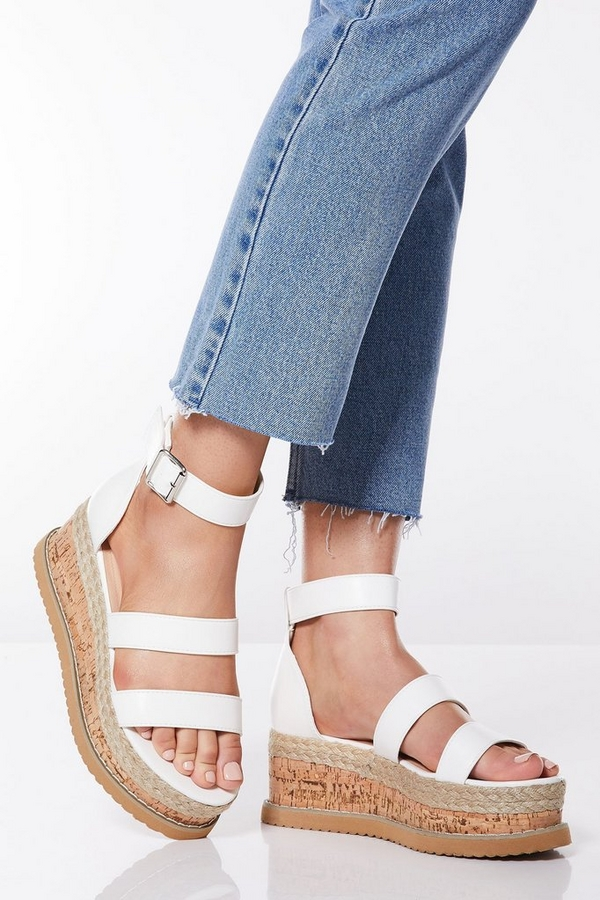 White Triple Strap Flatform Wedges