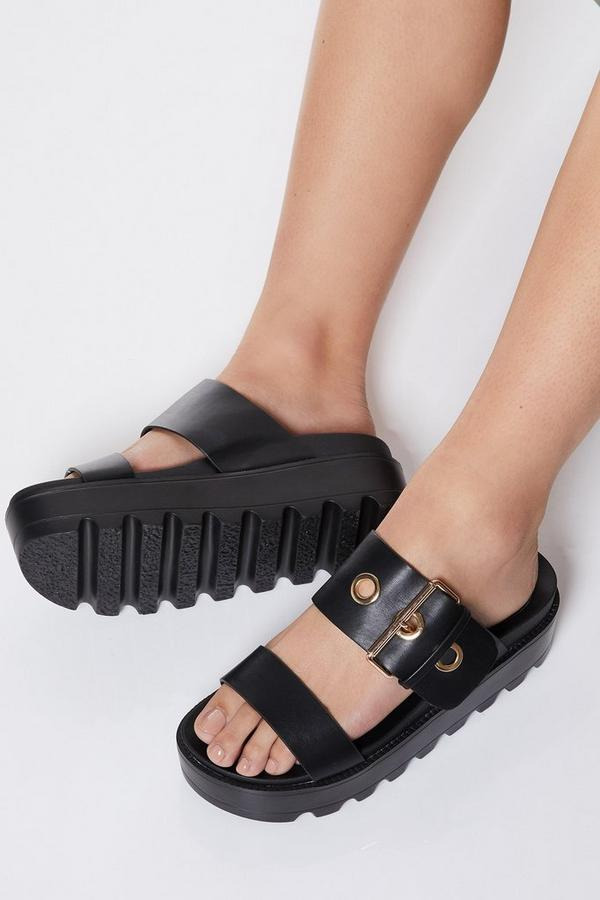 Black Buckle Detail Flatforms