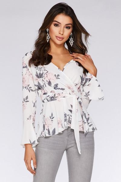 Cream and Pink Floral Long Sleeve Top