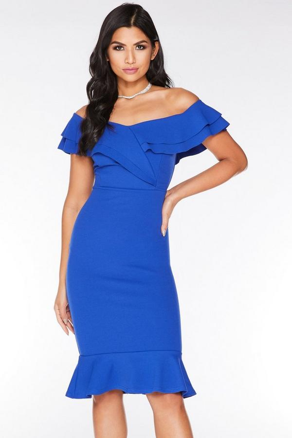 Royal Blue Bardot Frill Midi Dress