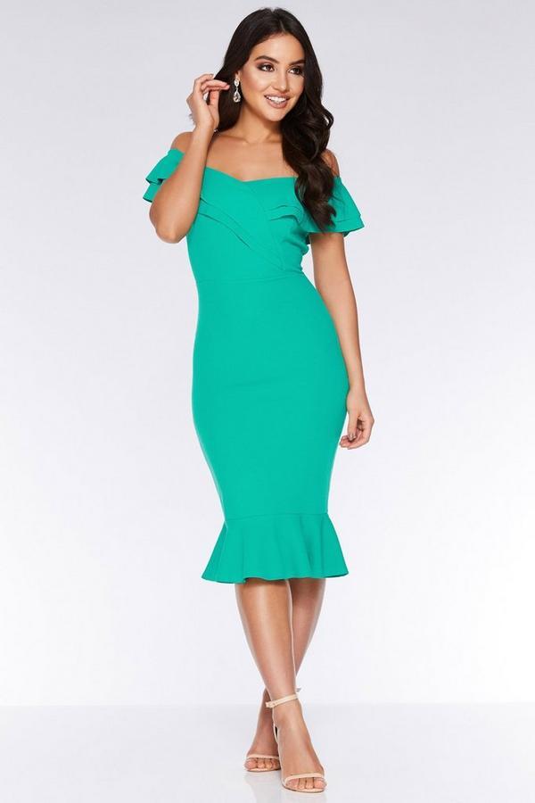 Green Bardot Frill Midi Dress