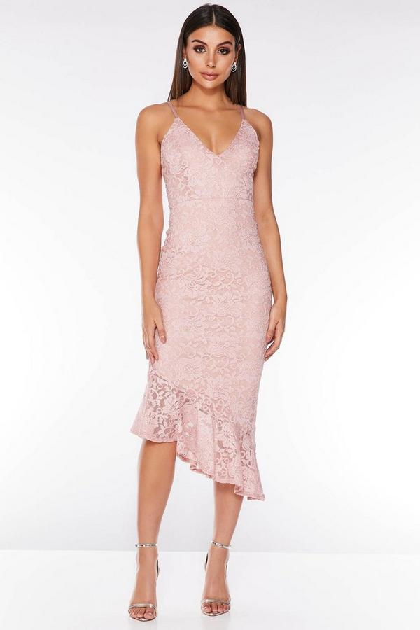 Pink Lace Glitter Asymmetric Hem Midi Dress