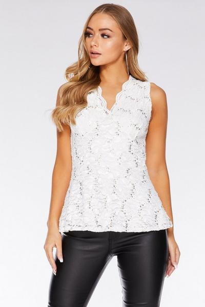 Cream Sequin Lace Scallop Peplum Top