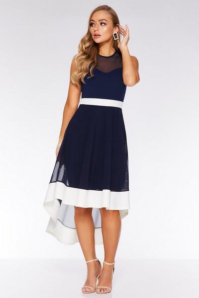 Navy And Cream Mesh High Neck Midi Dress