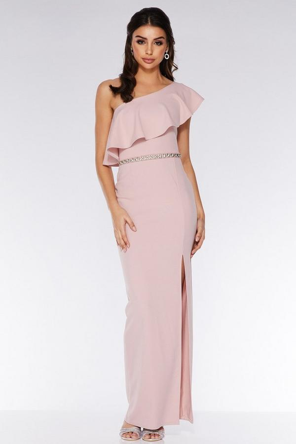 Blush Asymmetric Diamante Waistband Maxi Dress