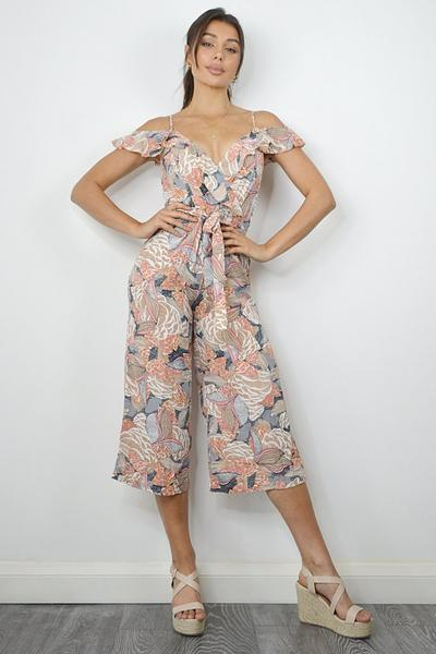 Nude And Pink Culotte Abstract Print Jumpsuit