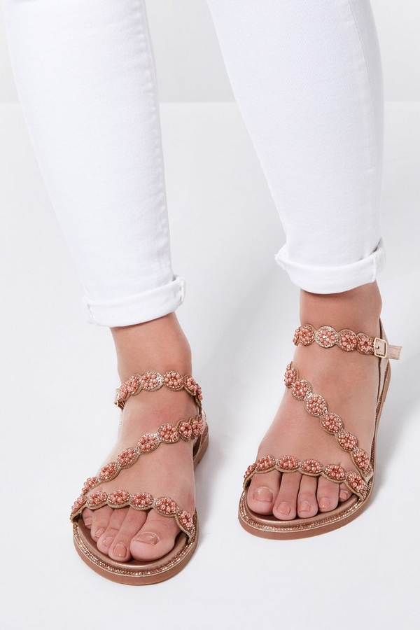 Rose Gold Floral Asymmetrical Flat Sandals