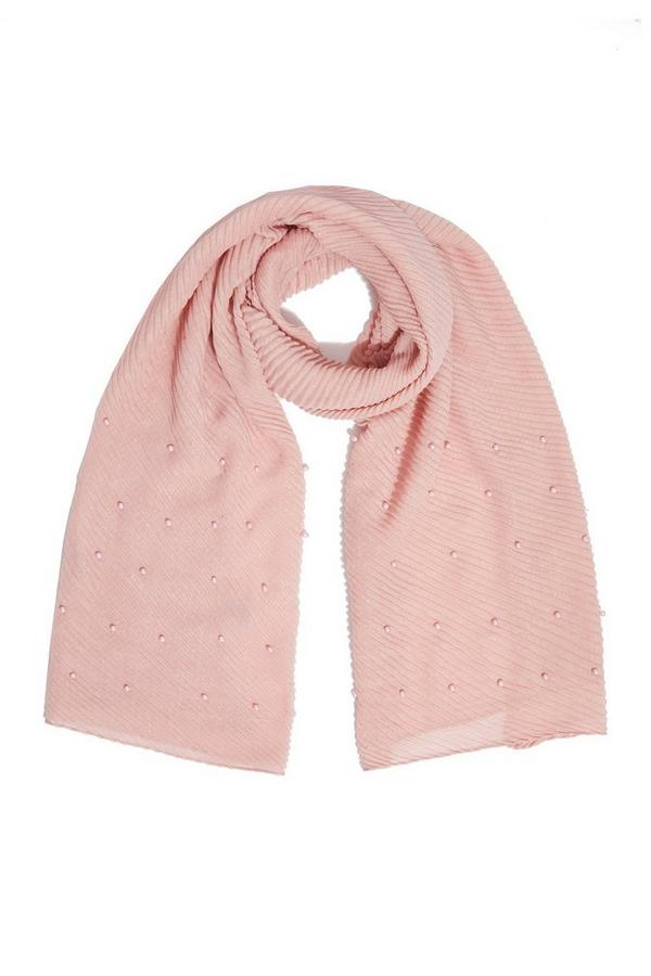 Pink Ribbed Pearl Scarf