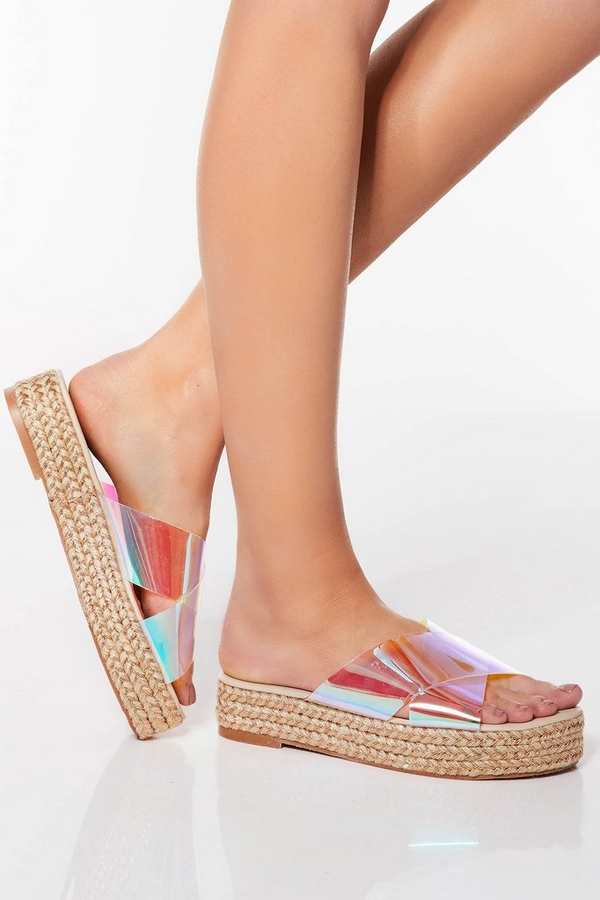 Iridescent Cross Strap Flatforms
