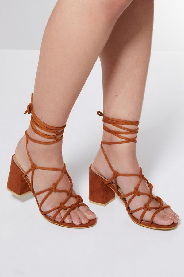 Tan Strappy Lace Up Flare Heel Sandals