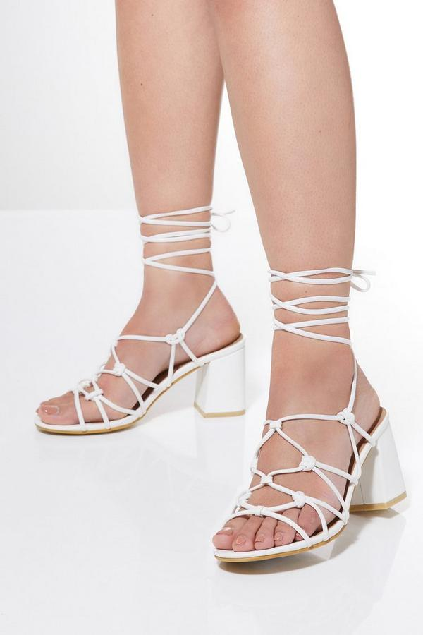 White Lace Up Heeled Sandals