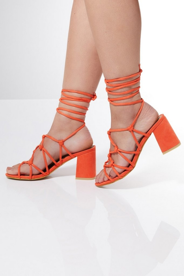 Orange Strappy Lace Up Flare Heel Sandals