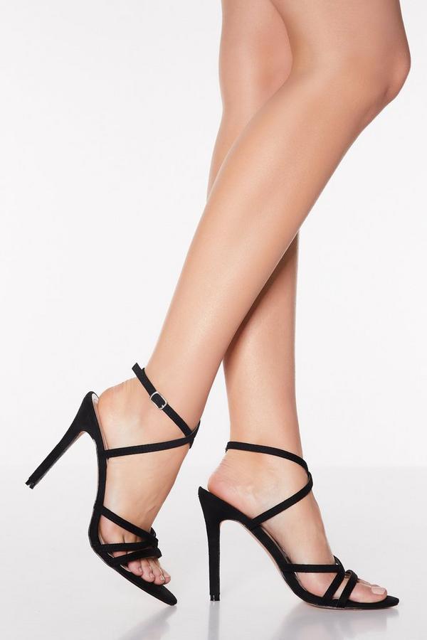 Black Cross Strap Heeled Sandals