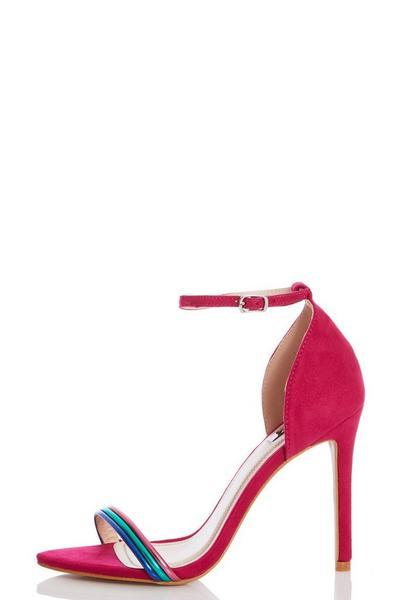 Pink Multicoloured Strap Heeled Sandals