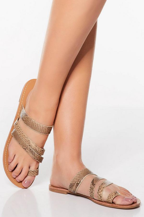 Snake Print Toe Ring Strappy Sandals