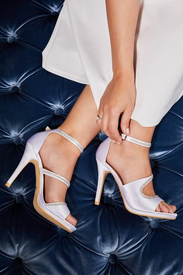 Bridal Ivory Satin Diamante Strap Heel Sandals