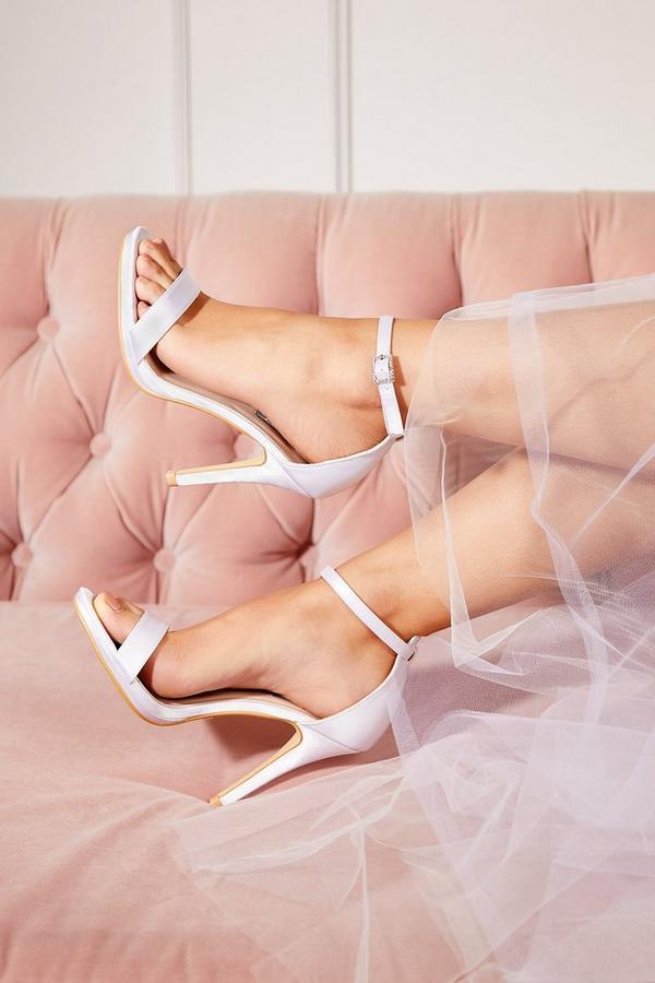 Bridal Ivory Satin Diamante Buckle Heeled Sandals