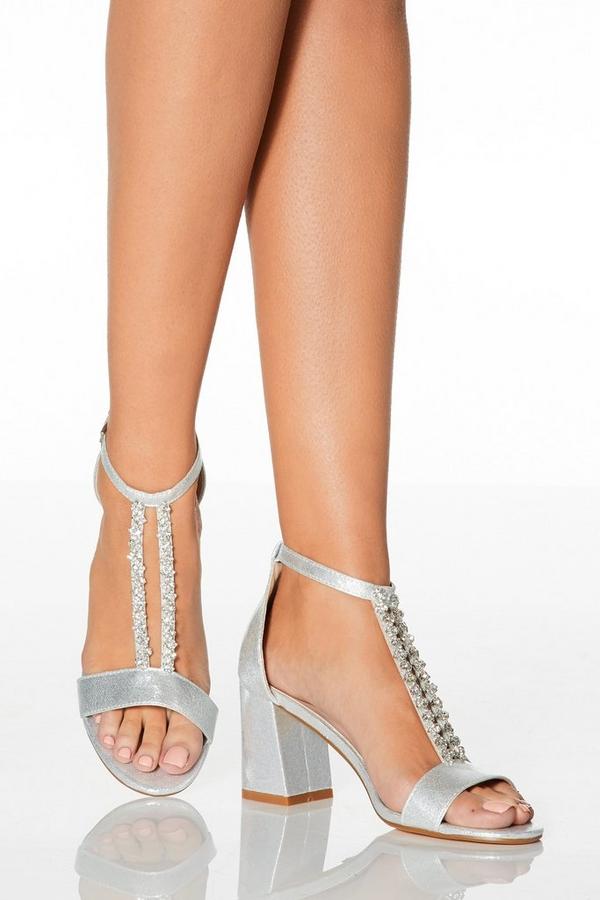 Silver Diamante T-Bar Heeled Sandals