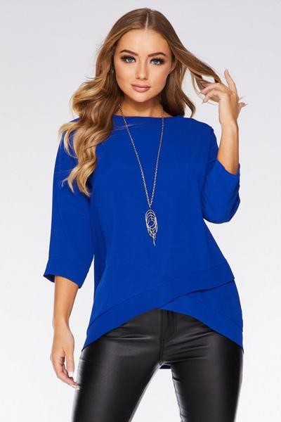 Royal Blue Crossover Necklace Top