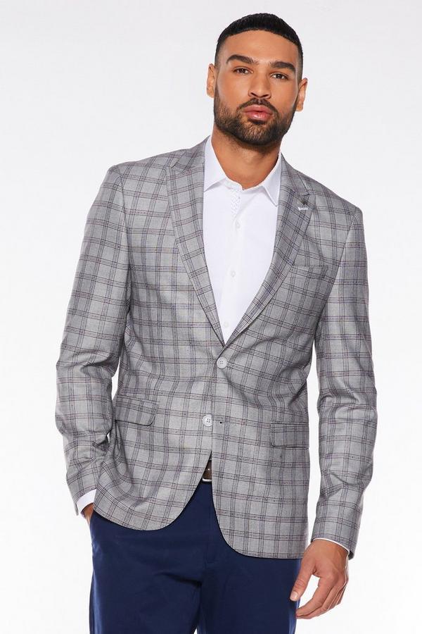Grey End Check Blazer
