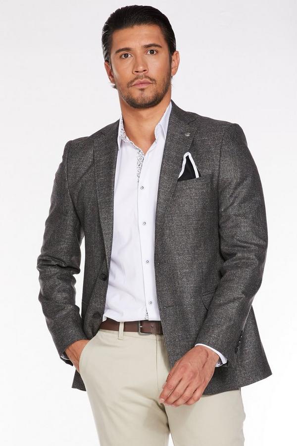 Mid Grey Plain Textured Blazer