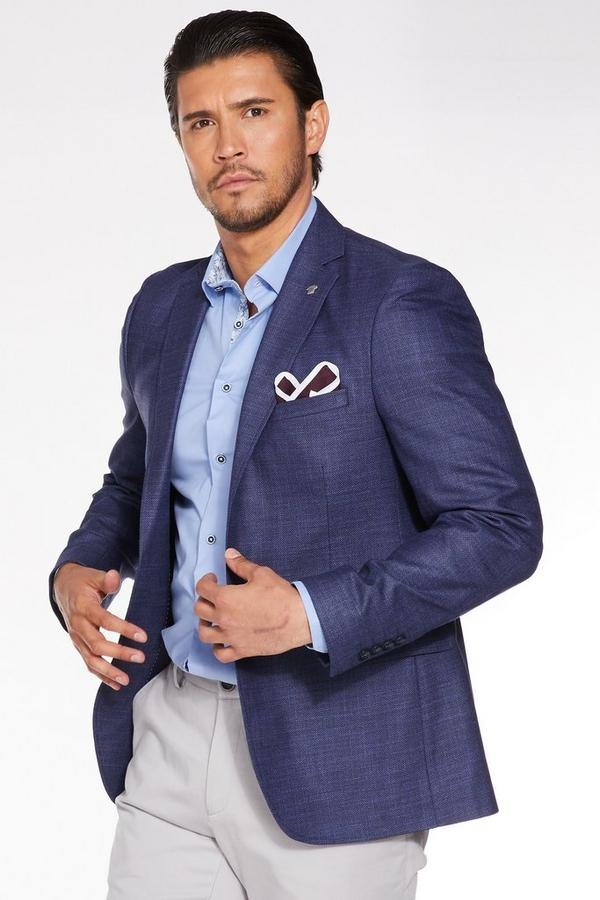 Navy Plain Textured Blazer