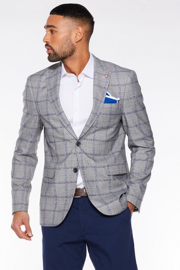 Grey / Blue Broken Stripe Blazer