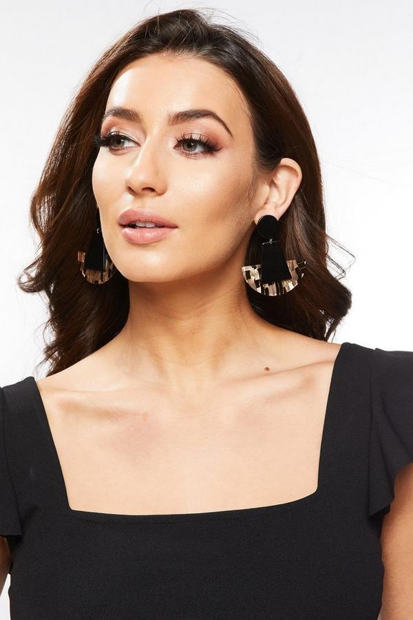 Black and Brown Half Circle Earrings