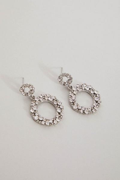 Silver Diamante Circle Drop Earrings