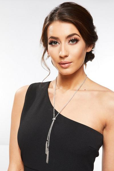 Silver Diamante Long Tassel Necklace